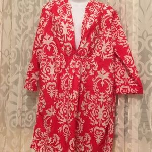 Merona red & white tunic size L